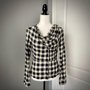 L.A.M.B Plaid Cowl Neck Button Up Shirt